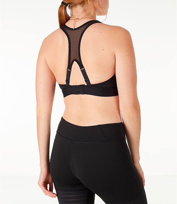 Back Right view of Women's Reebok Studio Hero Racer Brand Read Sports Bra in Black