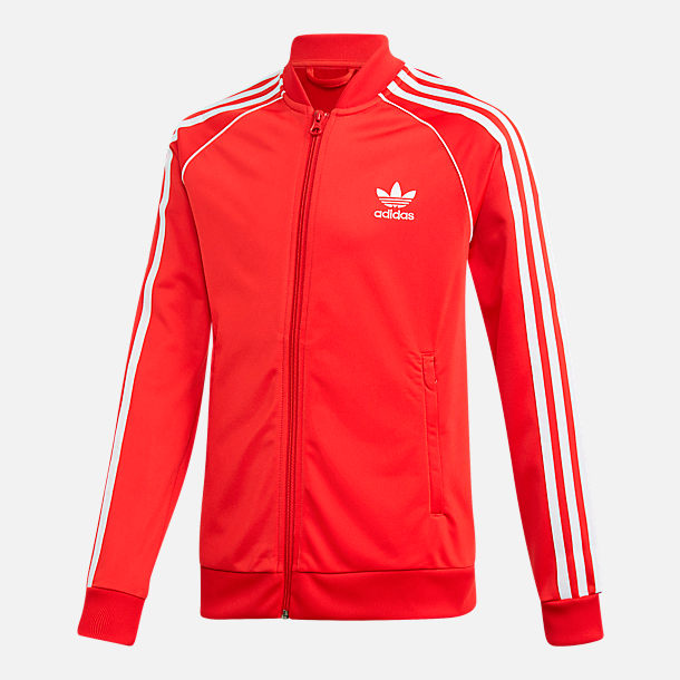 Front view of Boys' adidas Originals Trefoil Track Jacket in College Red