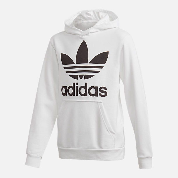 Front view of Kids' adidas Originals Trefoil Hoodie in White/Black