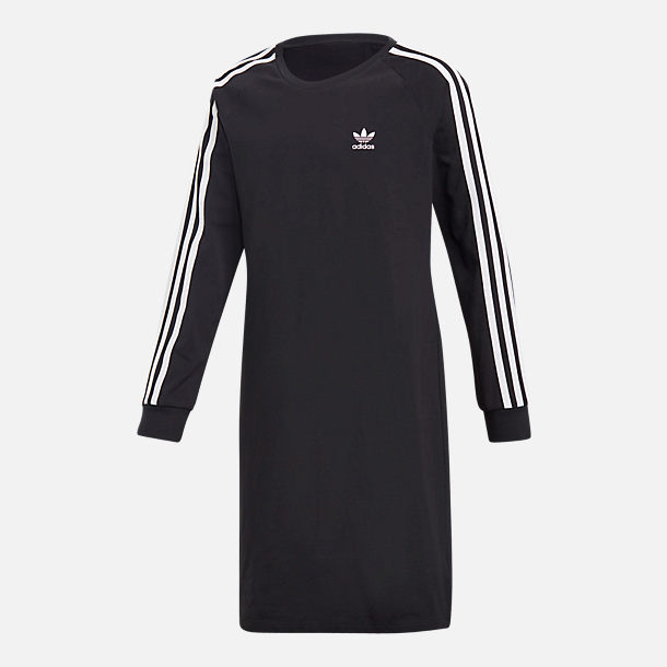 Front view of Girls' adidas Originals 3-Stripes Dress in Black/White