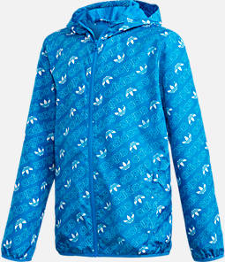 Kids' adidas Originals Repeating Trefoil Print Windbreaker Jacket