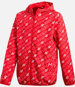 Kids' adidas Originals Repeating Trefoil Print Windbreaker Jacket