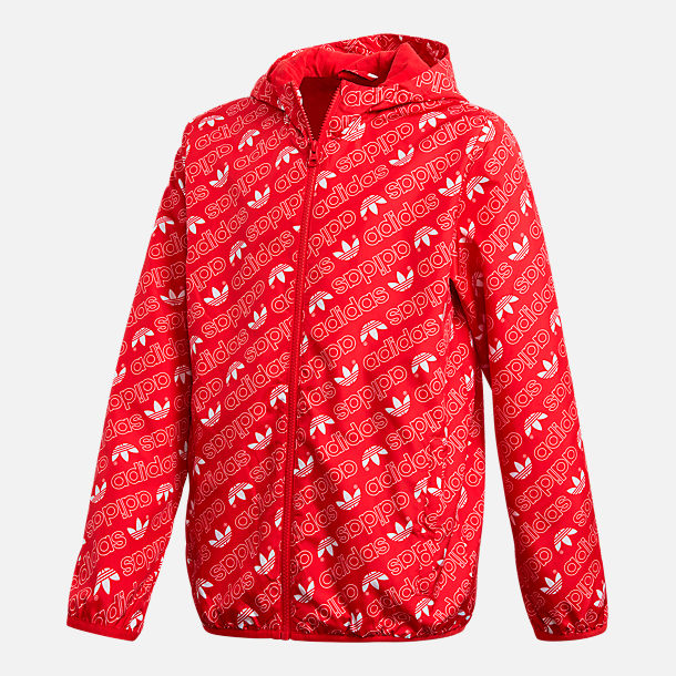 Front view of Kids' adidas Originals Repeating Trefoil Print Windbreaker Jacket in College Red/White