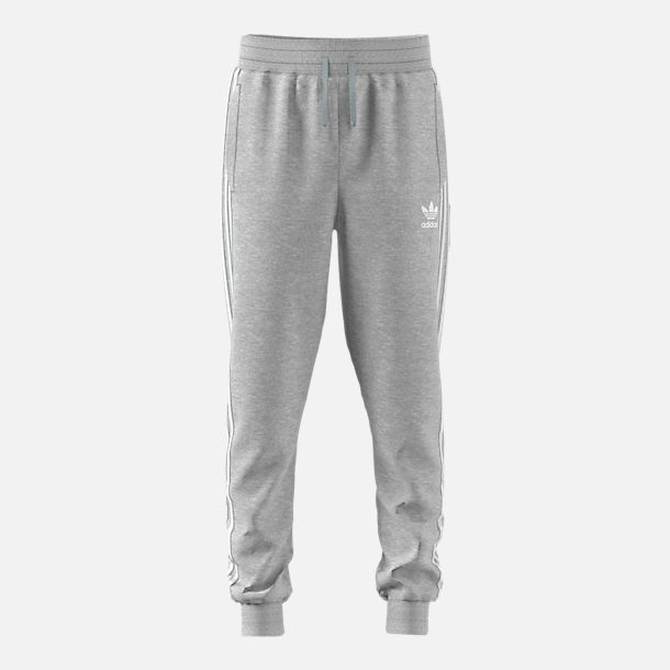 Front view of Boys' adidas Originals Trefoil Jogger Pants in Grey/White