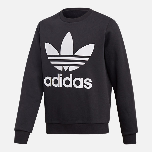Front view of Kids' adidas Originals Trefoil Crew Sweatshirt in Black/White