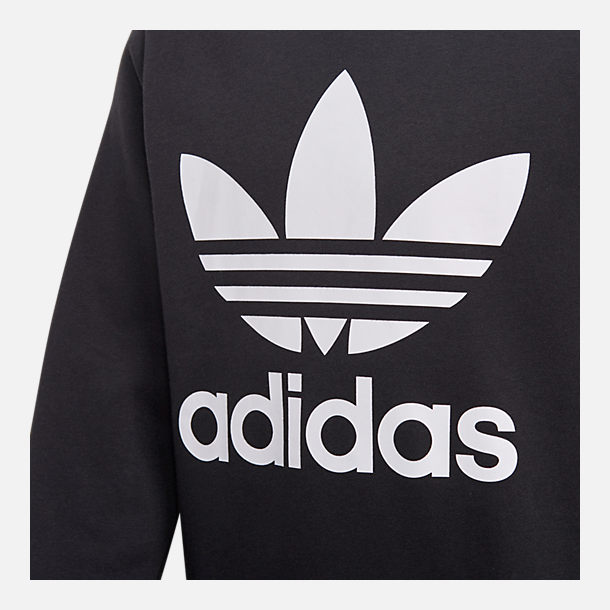 Back view of Kids' adidas Originals Trefoil Crew Sweatshirt in Black/White