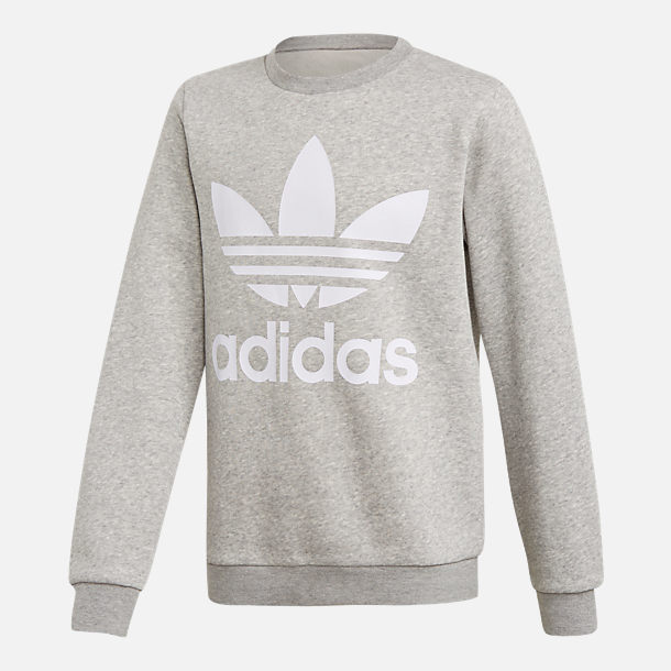 Front view of Kids' adidas Originals Trefoil Crew Sweatshirt in Grey/White