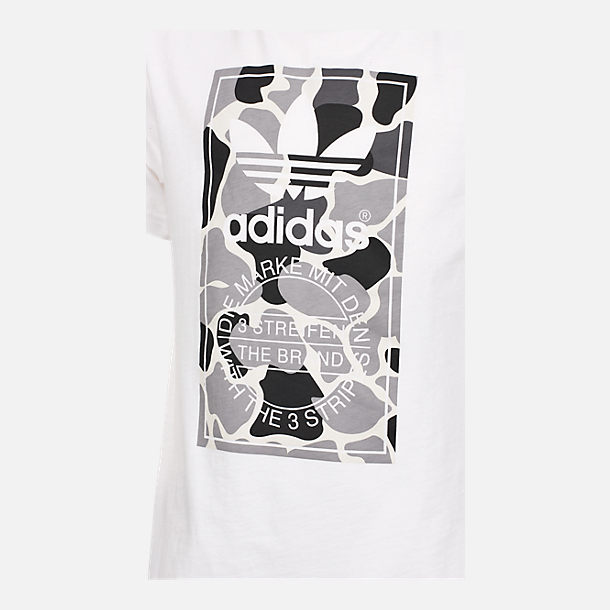 Back view of Boys' adidas Camo Trefoil T-Shirt in White/Black