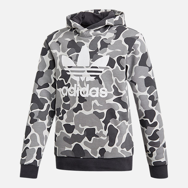 Front view of Boys' adidas Camo Trefoil Hoodie in Black/White