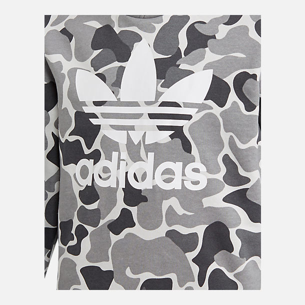 Back view of Boys' adidas Camo Trefoil Hoodie in Black/White