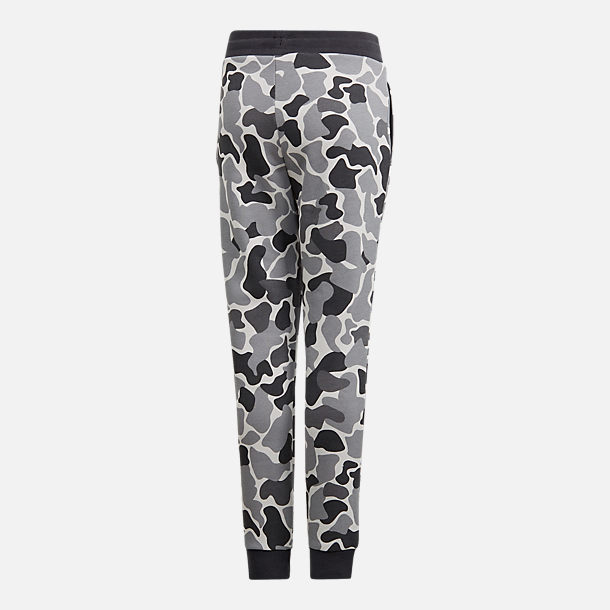 Back view of Boys' adidas Camo Trefoil Sweatpants in Black/White