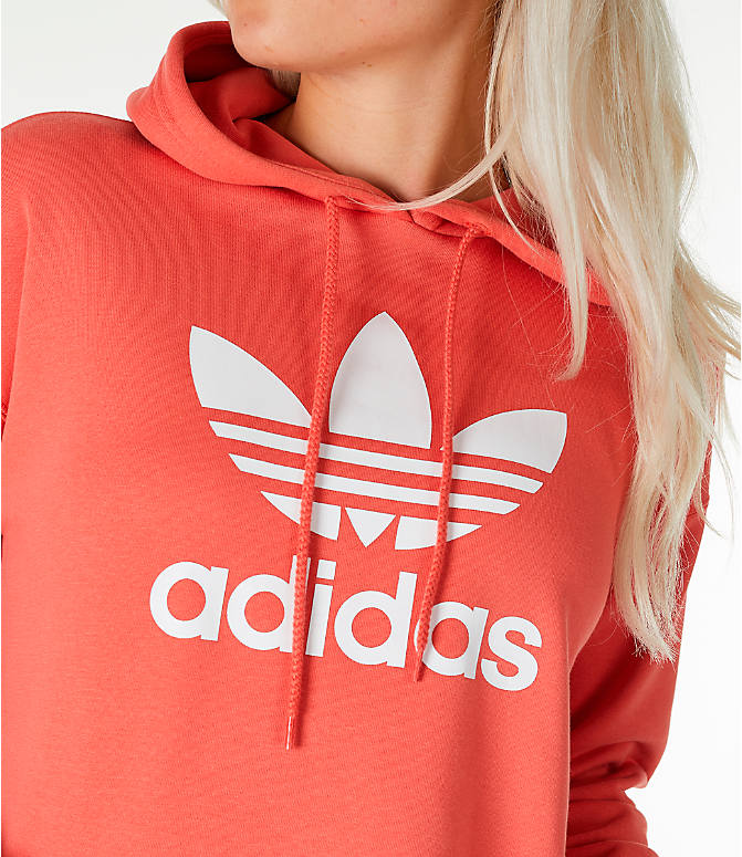 Detail 1 view of Women's adidas Originals Active Icons Crop Hoodie in Trace Scarlet