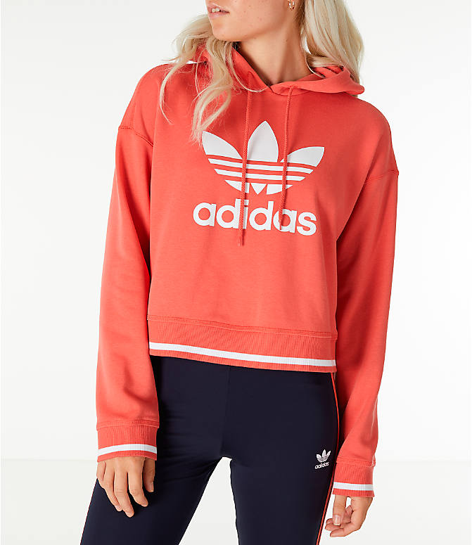 Front view of Women's adidas Originals Active Icons Crop Hoodie in Trace Scarlet