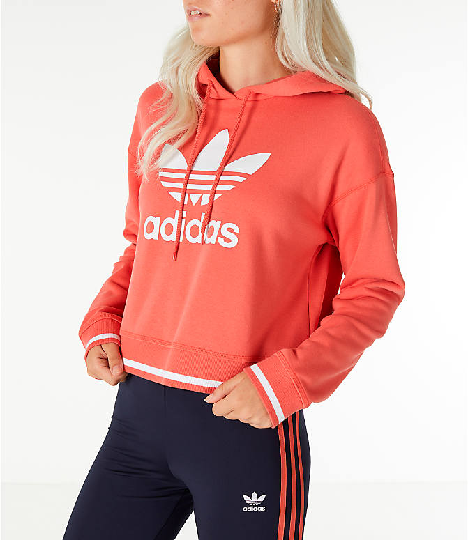Front Three Quarter view of Women's adidas Originals Active Icons Crop Hoodie in Trace Scarlet