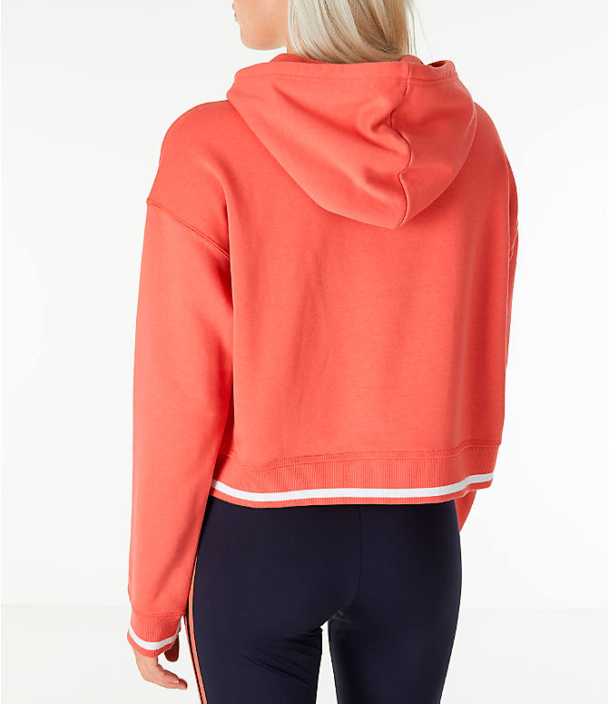Back Left view of Women's adidas Originals Active Icons Crop Hoodie in Trace Scarlet