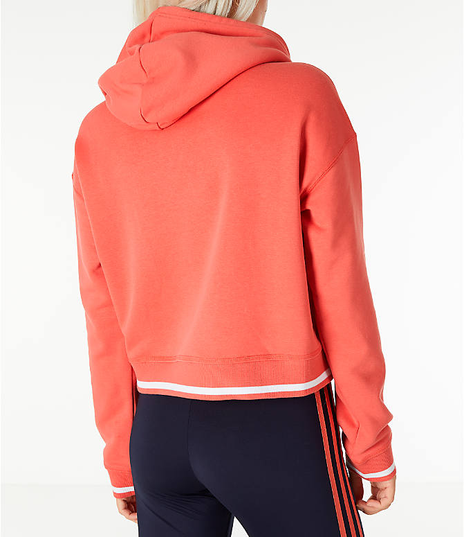 Back Right view of Women's adidas Originals Active Icons Crop Hoodie in Trace Scarlet