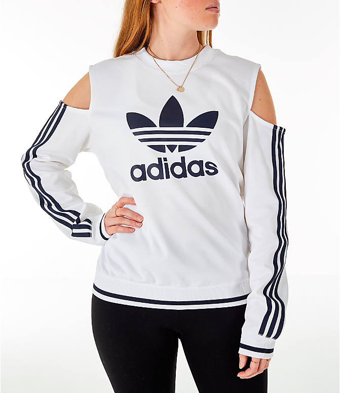Front view of Women's adidas Originals Cold Shoulder Cutout Sweatshirt in White/Black
