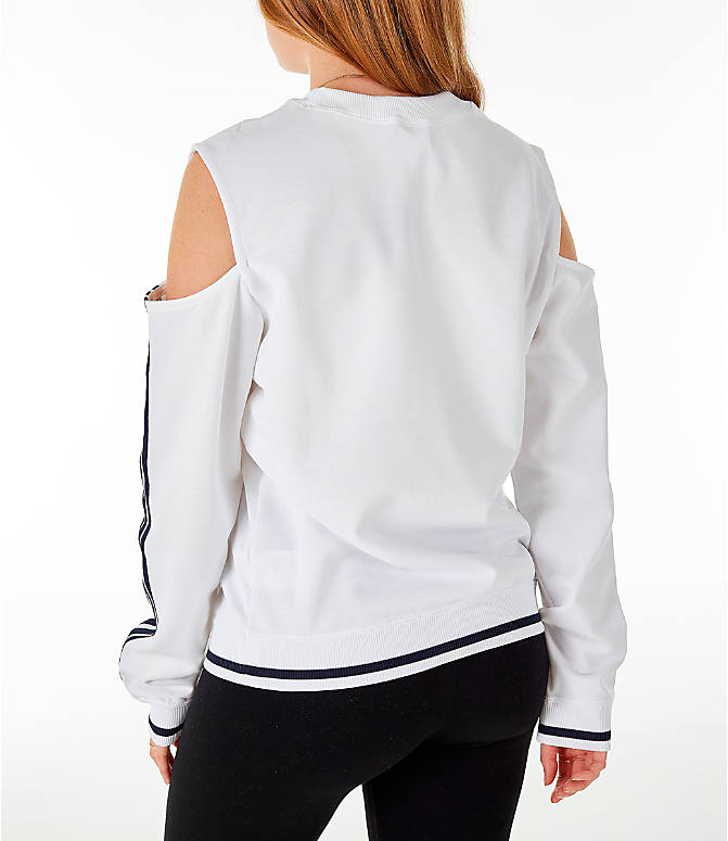 Back Left view of Women's adidas Originals Cold Shoulder Cutout Sweatshirt in White/Black