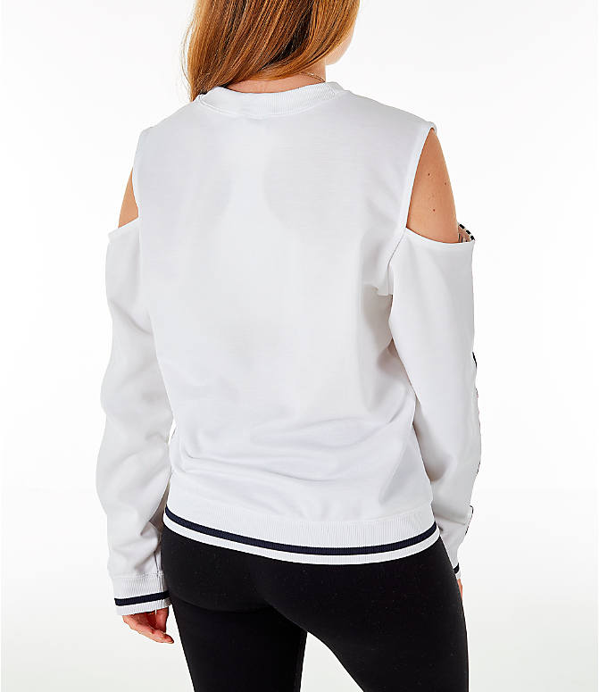 Back Right view of Women's adidas Originals Cold Shoulder Cutout Sweatshirt in White/Black