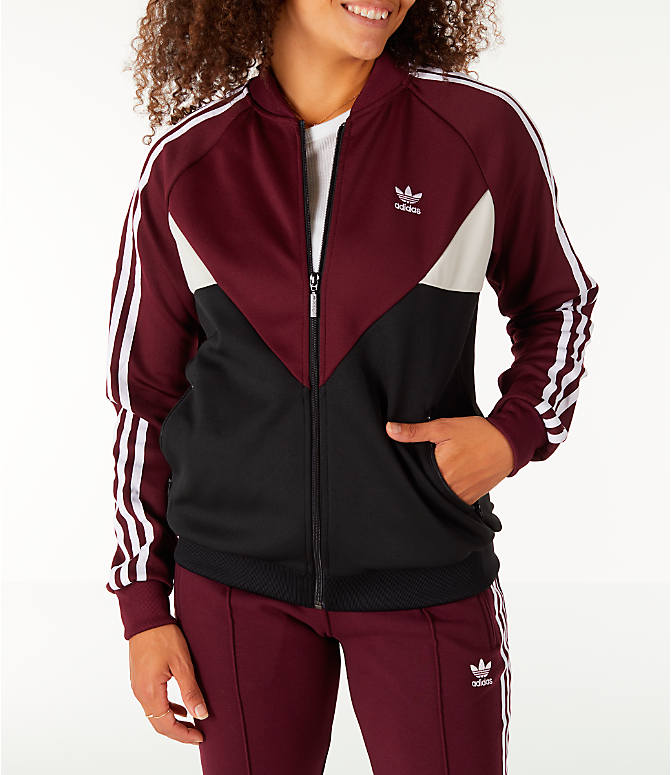 Front view of Women's adidas Originals Colorado SST Track Jacket in Maroon