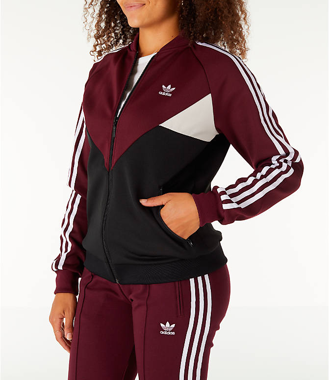 Front Three Quarter view of Women's adidas Originals Colorado SST Track Jacket in Maroon