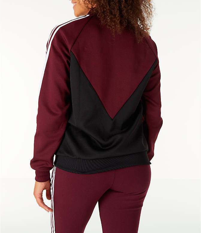 Back Left view of Women's adidas Originals Colorado SST Track Jacket in Maroon