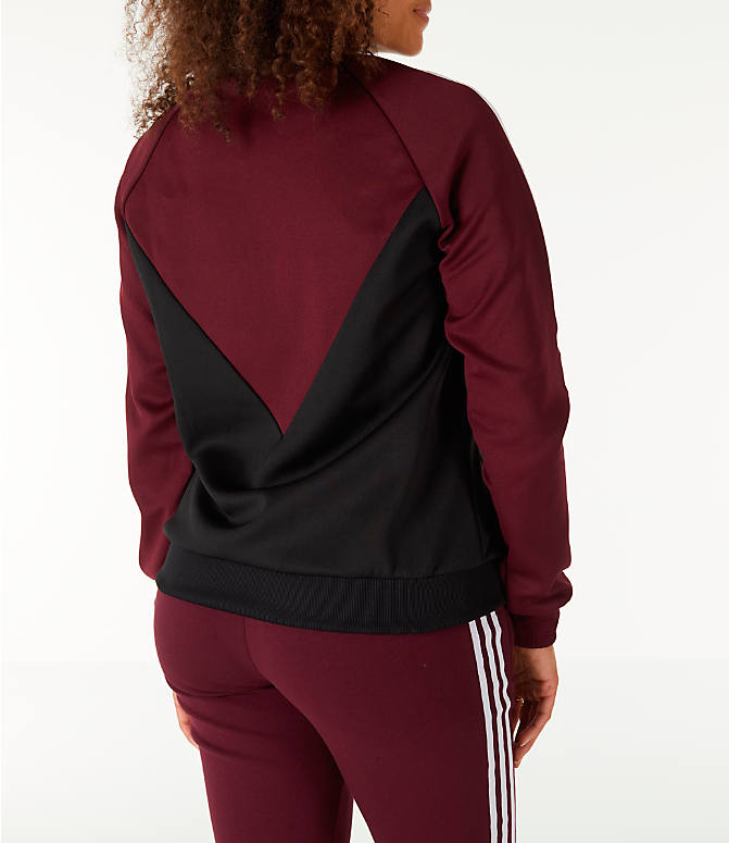 Back Right view of Women's adidas Originals Colorado SST Track Jacket in Maroon