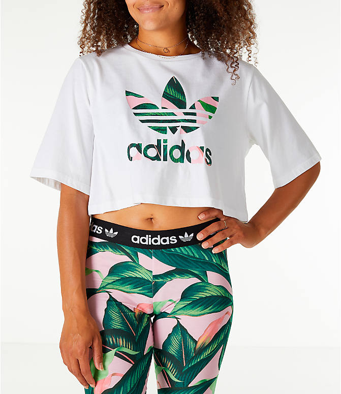 Front view of Women's adidas Originals Farm Crop T-Shirt in White/Multi