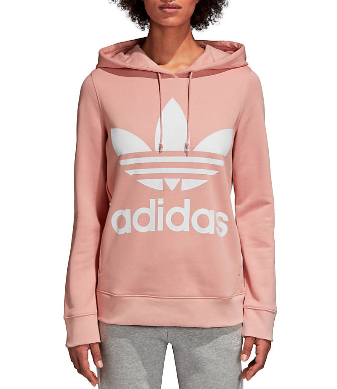 Front view of Women's adidas Originals Trefoil Hoodie in Pink