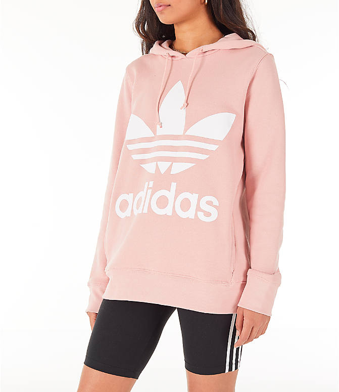 Front Three Quarter view of Women's adidas Originals Trefoil Hoodie in Pink