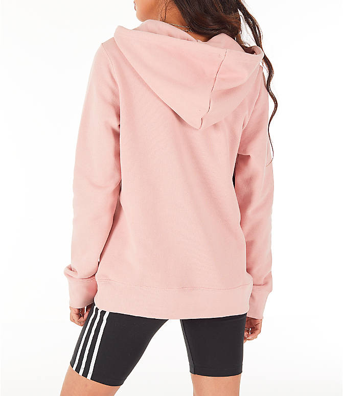 Back Left view of Women's adidas Originals Trefoil Hoodie in Pink