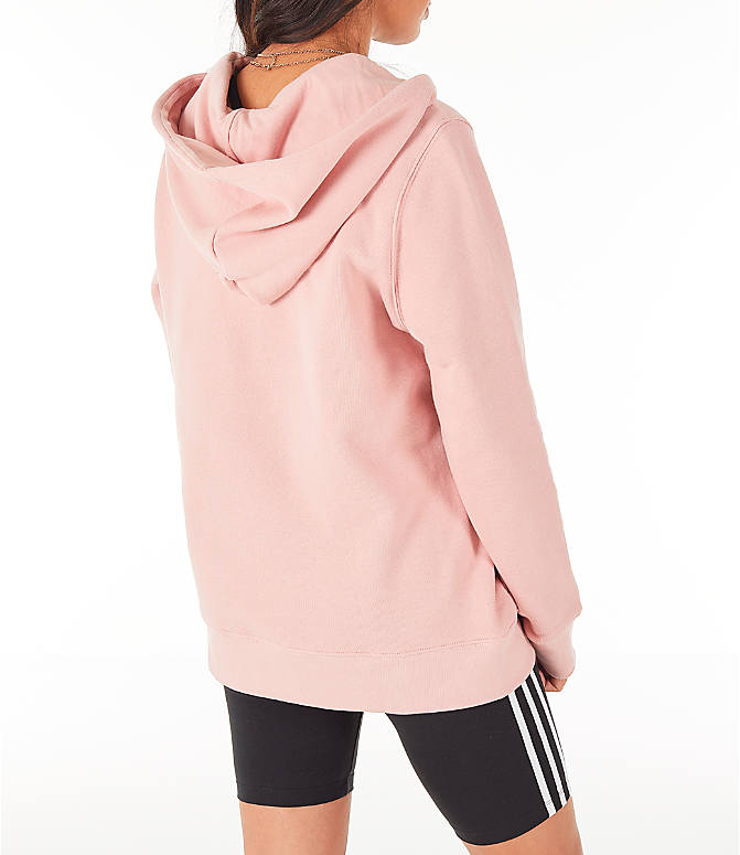 Back Right view of Women's adidas Originals Trefoil Hoodie in Pink