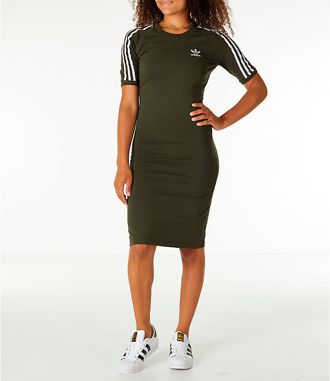 Front view of Women's adidas Originals 3-Stripes Dress in Night Cargo