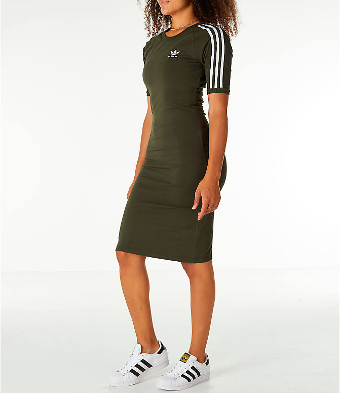 Front Three Quarter view of Women's adidas Originals 3-Stripes Dress in Night Cargo