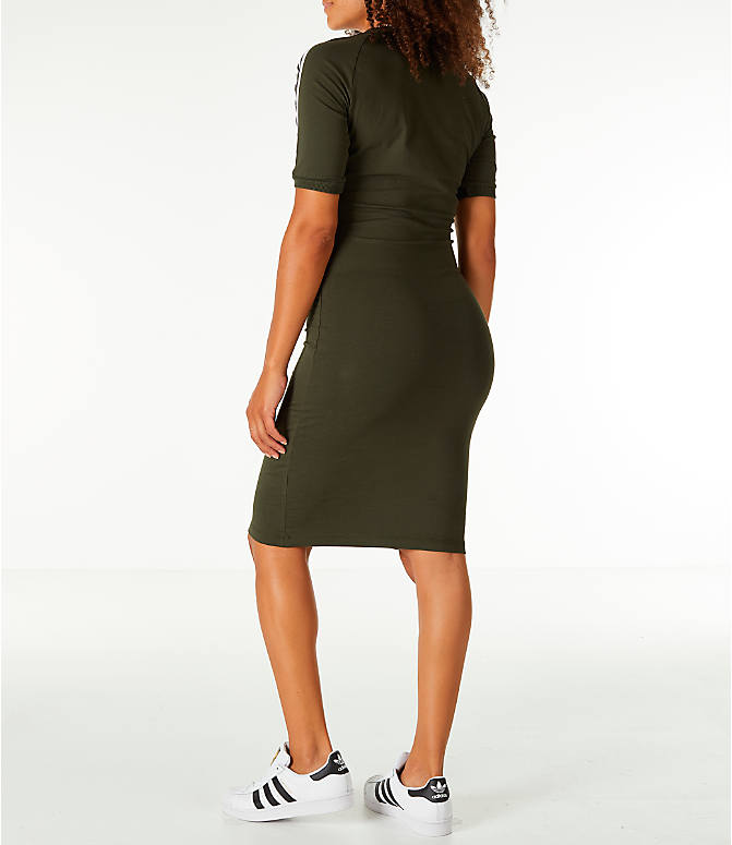 Back Left view of Women's adidas Originals 3-Stripes Dress in Night Cargo