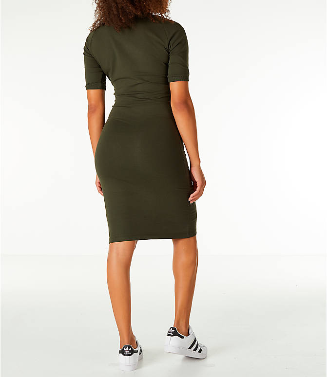 Back Right view of Women's adidas Originals 3-Stripes Dress in Night Cargo