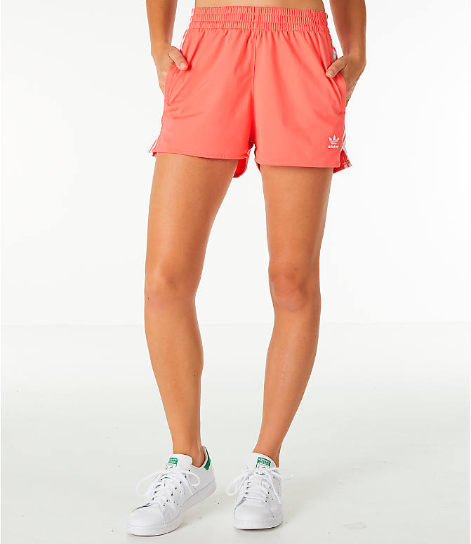 Front view of Women's adidas Originals 3-Stripes Shorts in Core Pink