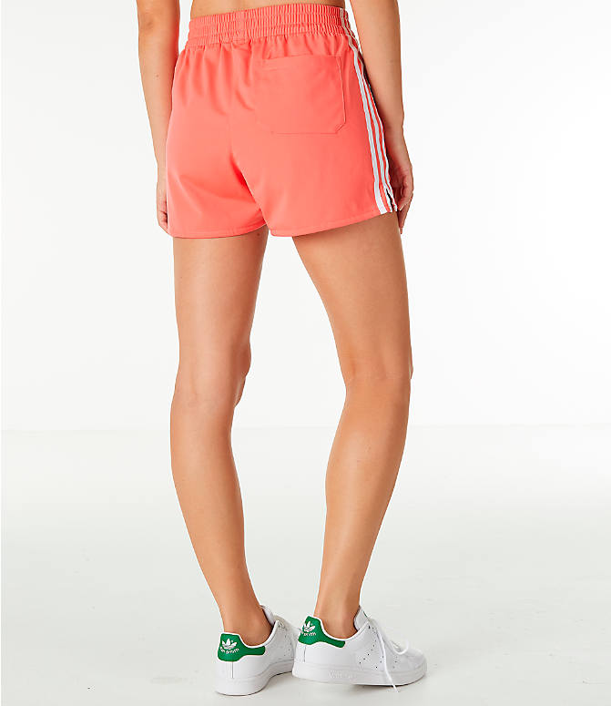Back Right view of Women's adidas Originals 3-Stripes Shorts in Core Pink