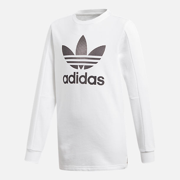 Front view of Kids' adidas Originals Black Friday Long-Sleeve T-Shirt in White