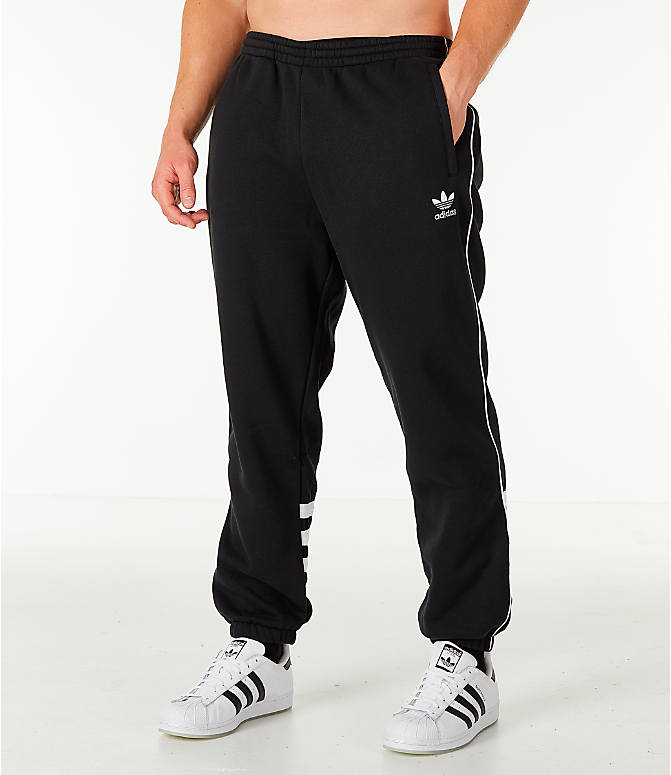 Front Three Quarter view of Men's adidas Originals Authentic Fleece Jogger Pants in Black