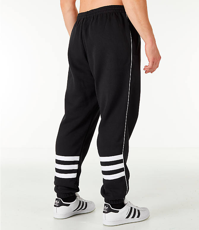 Back Left view of Men's adidas Originals Authentic Fleece Jogger Pants in Black