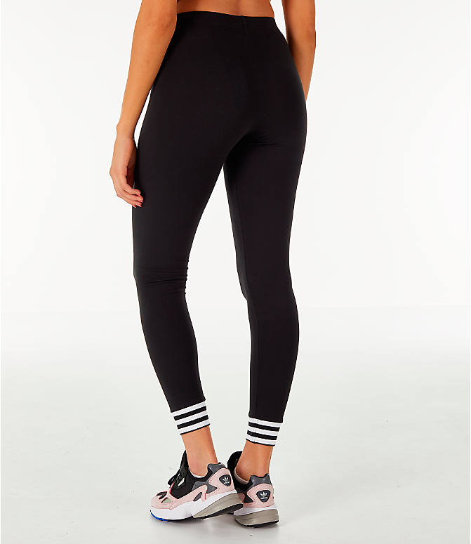 Back Left view of Women's adidas Originals Fashion League Leggings in Black/White