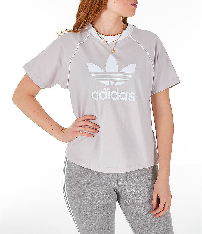 Front view of Women's adidas Originals Winter Ease Trefoil T-Shirt in Ice Purple