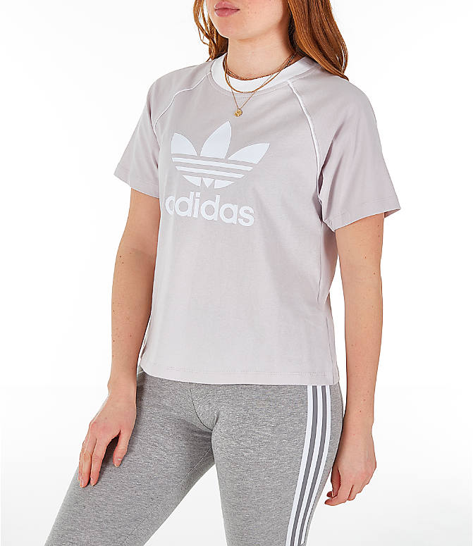Front Three Quarter view of Women's adidas Originals Winter Ease Trefoil T-Shirt in Ice Purple