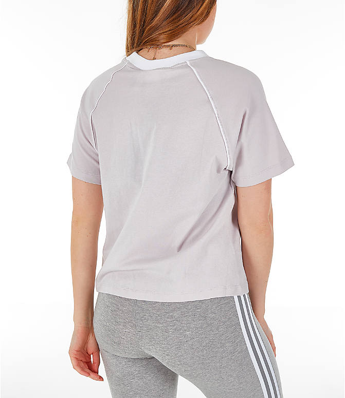 Back Right view of Women's adidas Originals Winter Ease Trefoil T-Shirt in Ice Purple