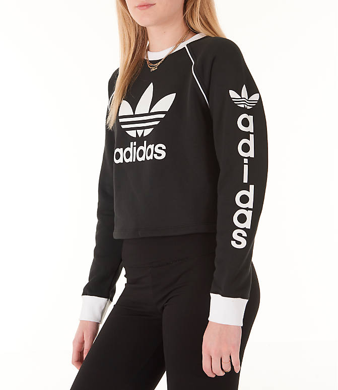 Front Three Quarter view of Women's adidas Originals Winter Ease Crew Sweatshirt in Black/White