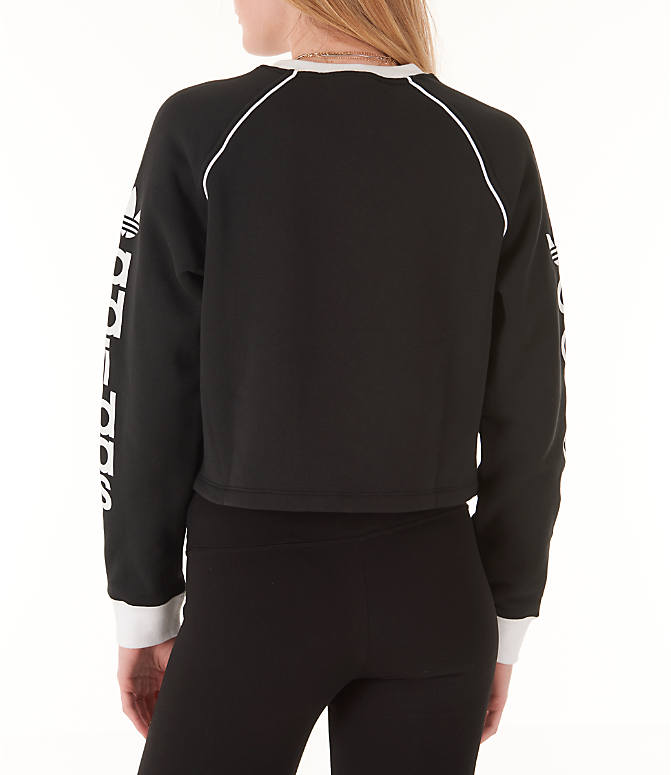 Back Left view of Women's adidas Originals Winter Ease Crew Sweatshirt in Black/White