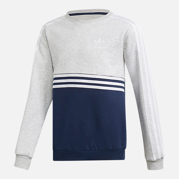 Front view of Boys' adidas Authentics Colorblock Crewneck Sweatshirt in Light Grey Heather/Collegiate Navy/White