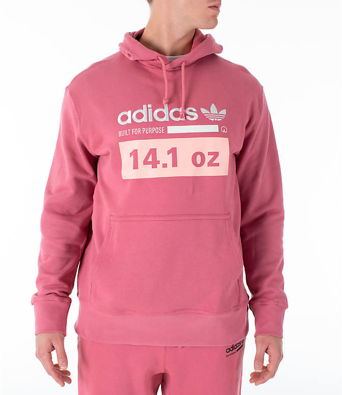 Front view of Men's adidas Originals Kaval Hoodie in Coral