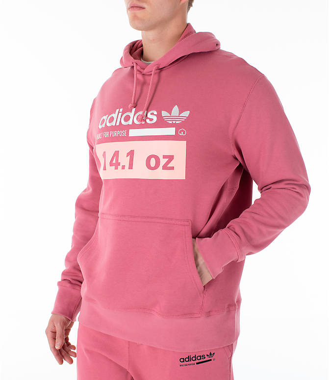 Front Three Quarter view of Men's adidas Originals Kaval Hoodie in Coral